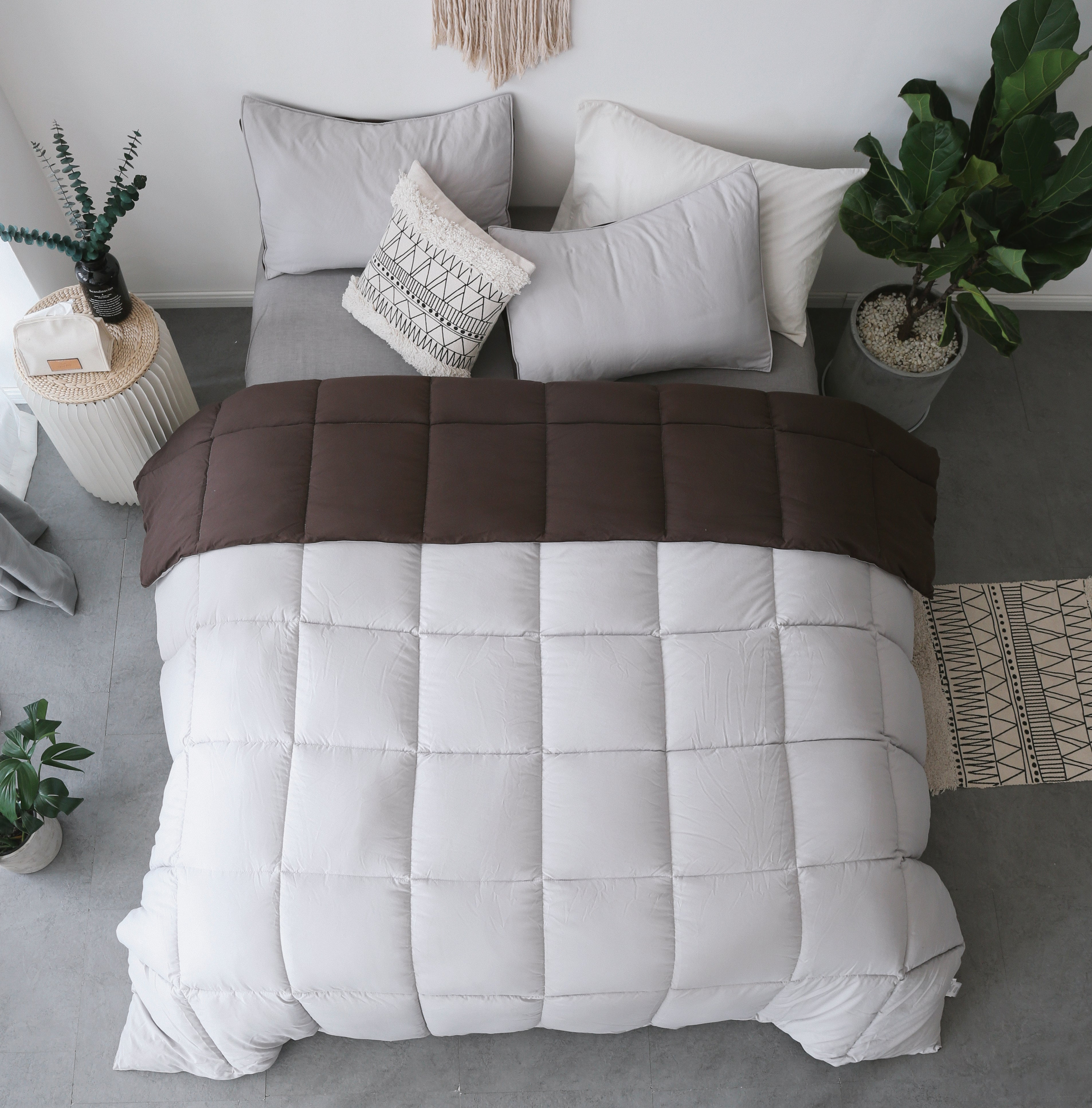 Kasentex Quilted Comforter Set, Goose Down Alternative Microfiber Fill - All Season - Ultra Soft - Machine Washable - Hypoallergenic - Reversible, Duvet Insert