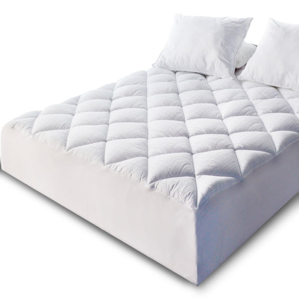 Quilted Fitted Mattress Pad and Protector 300 TC Cotton Jacquard Fabric Front & Down Alternative Fill - Hypoallergenic