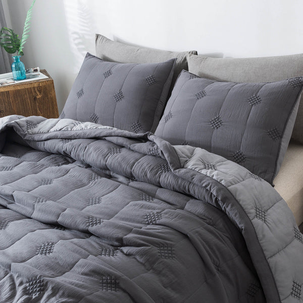 Kasentex Pre-Washed Quilt Set - Stylish Diamond Stitch Design, Ultra Soft Microfiber Bedding with Down Alternative Filling