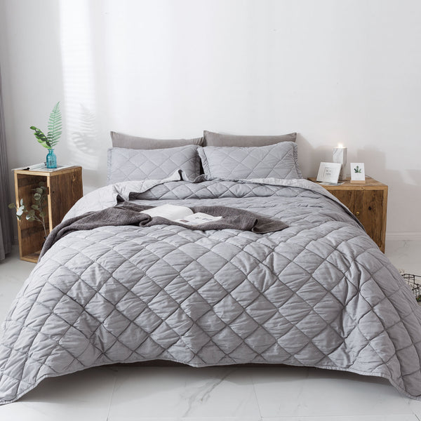 Kasentex Prewashed Bedding Set Plush Soft Quilt Contemporary Stitched Coverlet with Shams - Silver Grey - Kasentex