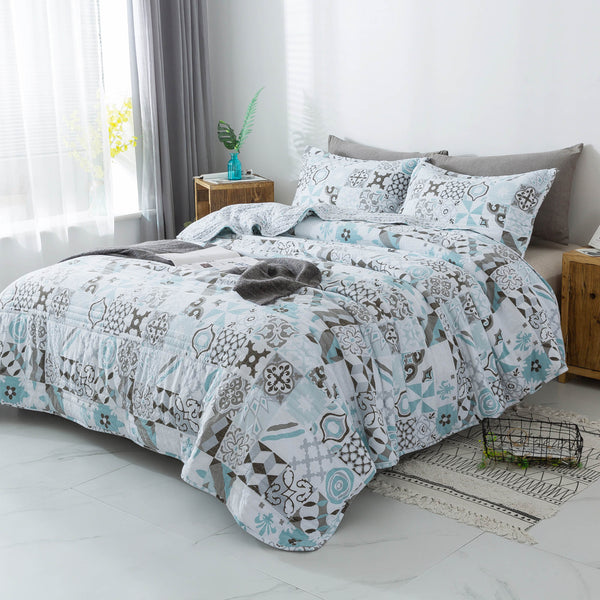 KASENTEX Spring-Summer Quilt Set with Geometry-Bloom Patchwork Design