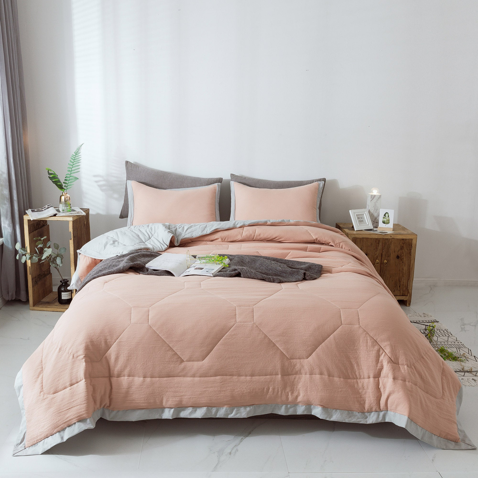 KASENTEX All Season Comforter Set with Stylish Ruffled Edge Trim Nostalgic Design with Matching Shams