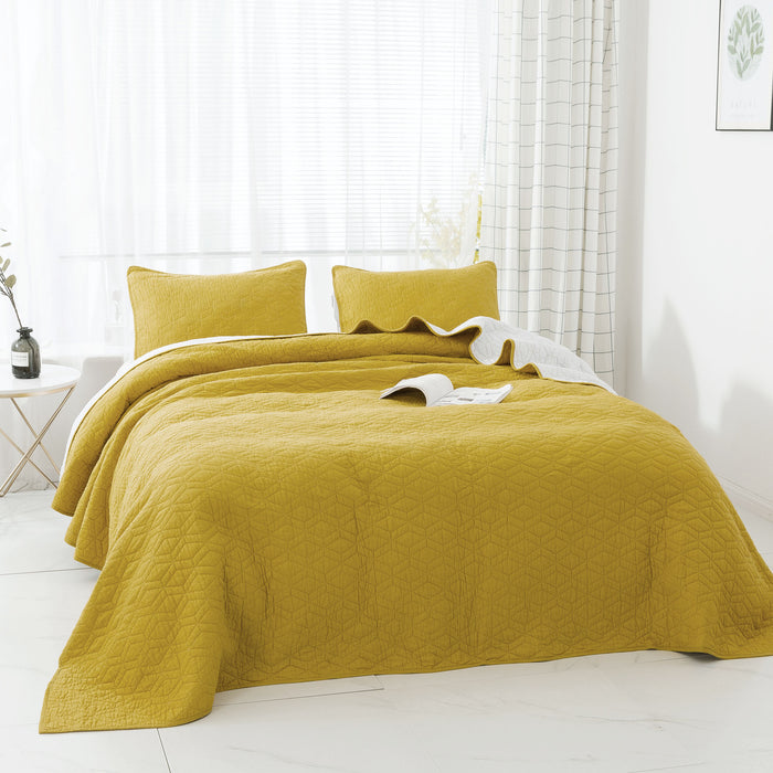 Kasentex Coastal Design Luxury Soft 100% Cotton Bedspread with Pillow Shams - Yellow