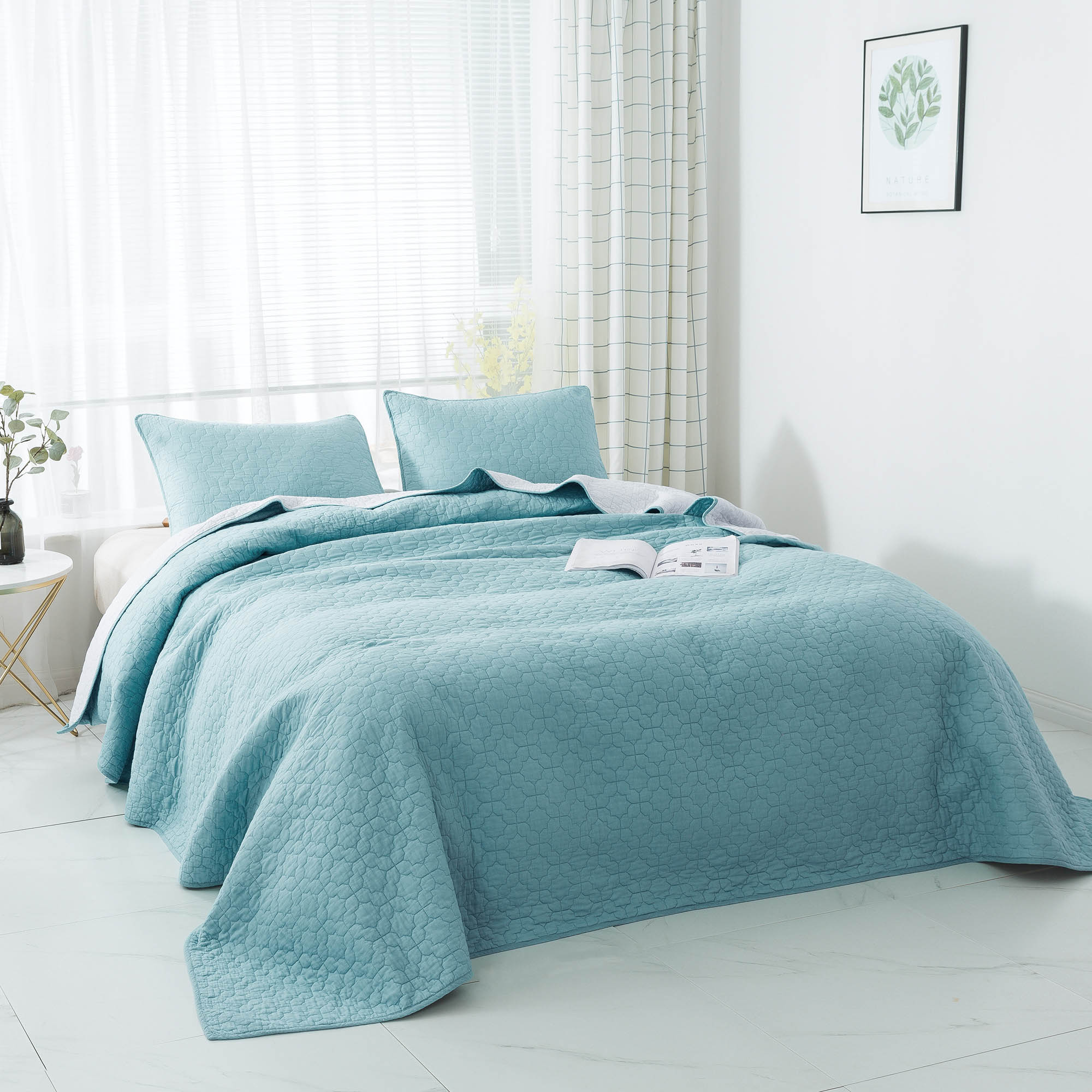 Kasentex Coastal Design Luxury Soft 100% Cotton Bedspread with Pillow Shams - Kasentex