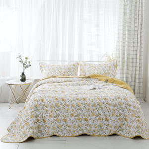 Kasentex 3 Piece Contemporary Bedding with  Floral Printed Design, 100% Cotton Plush Reversible Bedspread