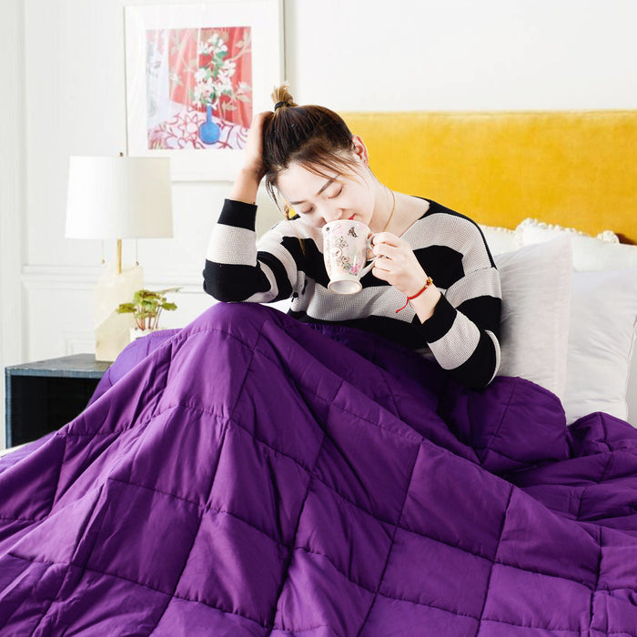 Kasentex 100% Natural Cotton - Perfect Weighted Blanket For Restful Sleep, Anti-Allergies and Anti-Stress