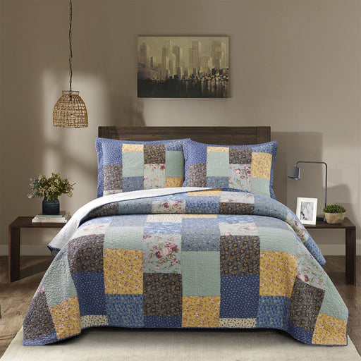 Luxury - Boho Quilt with Decorative Print Patchwork Design, Cotton Soft Bedding - Kasentex