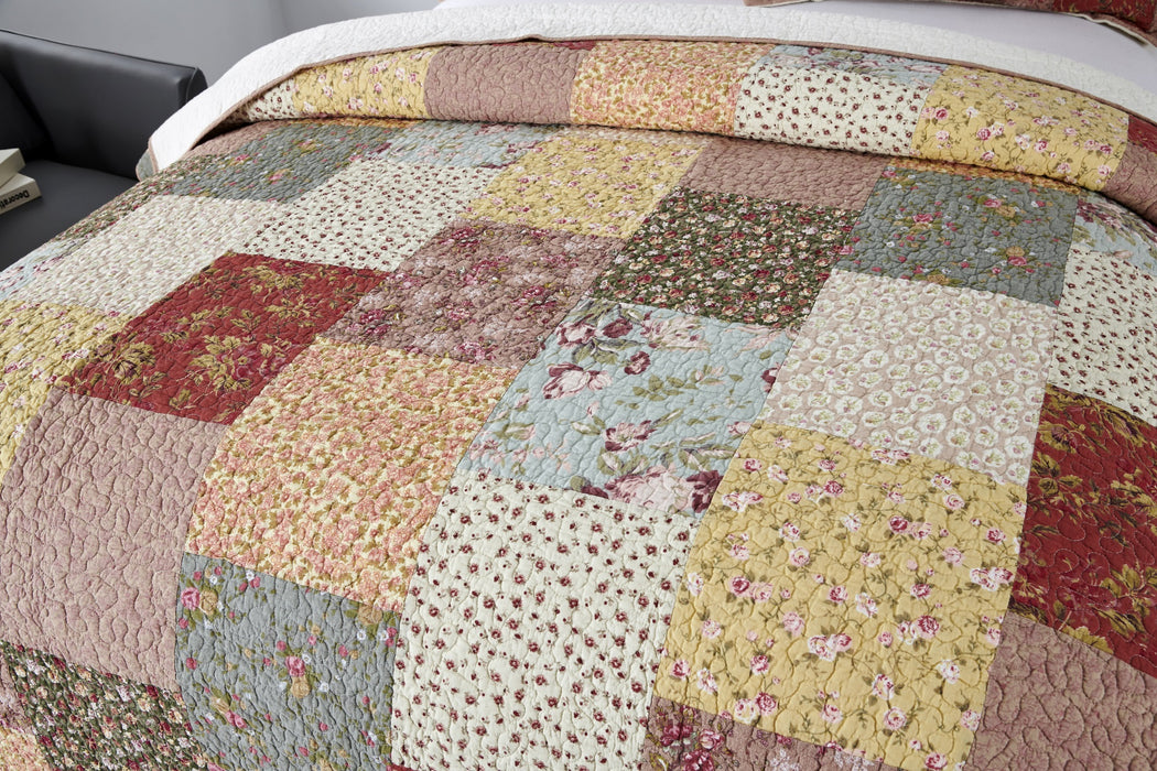 Kasentex Boho Quilt with Decorative Print Patchwork Design, Cotton Soft Bedding