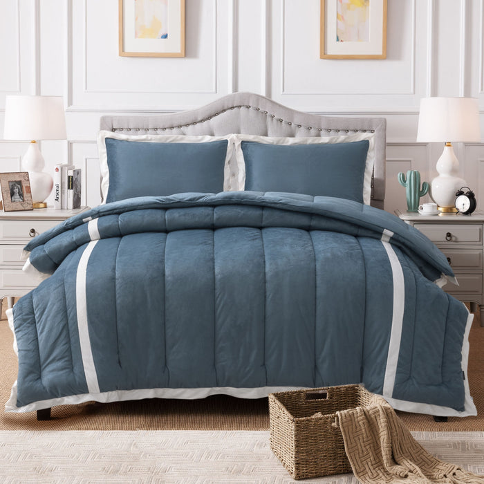 Kasentex Luxury Plush Microfiber Down Alternative Comforter Set With Unique Stripe Design