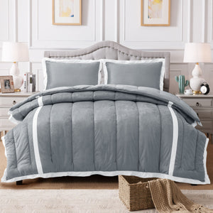 Kasentex Luxury Plush Microfiber Down Alternative Comforter Set With Unique Stripe Design - Kasentex
