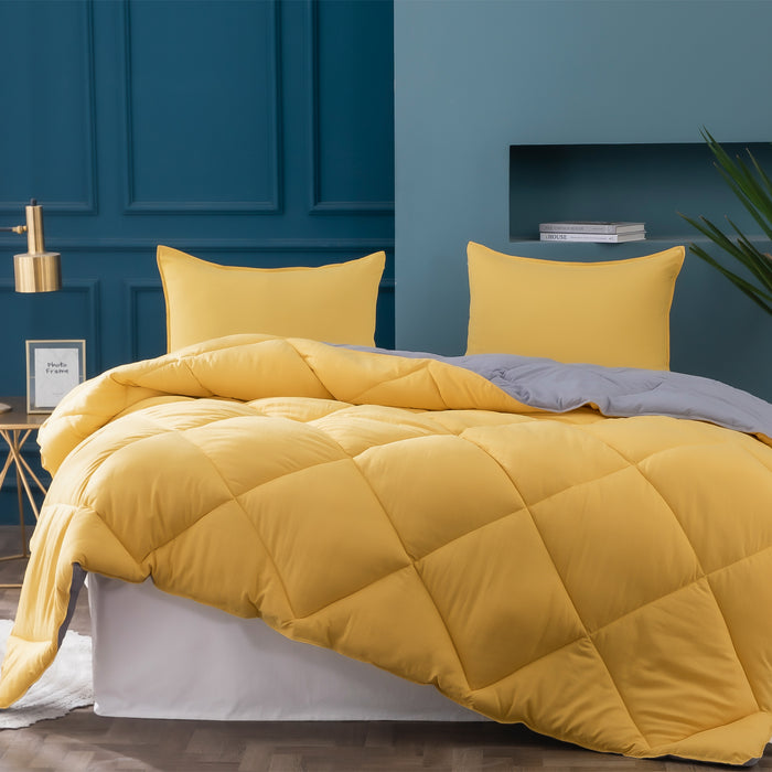 Kasentex Multi Color 2-Tone Reversible Comforter Set with Down Alternative Filling, Hypoallergenic- Yellow