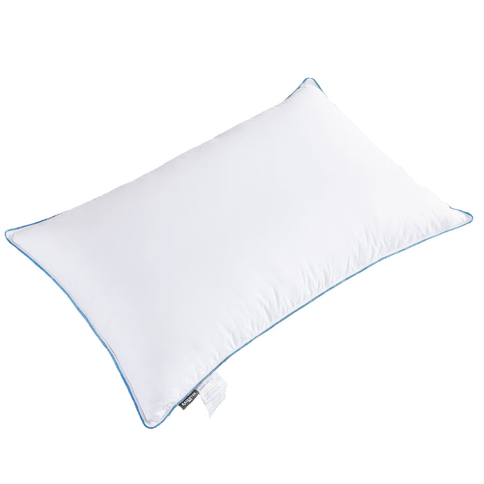 KASENTEX Natural Goose Down Feather Pillow for Sleeping with Blue Silky Piping