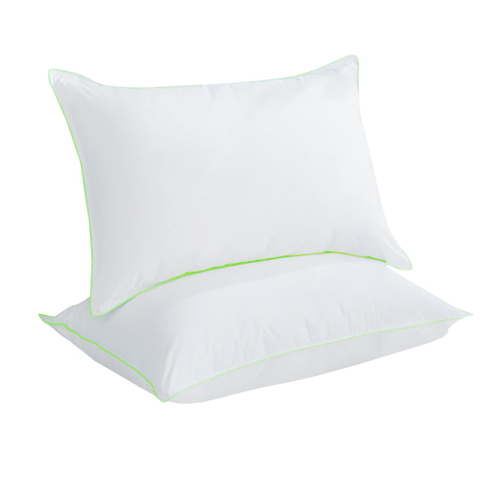 Kasentex Natural Goose Down Feather Pillow, 100% Cotton Plush Medium Soft - Three Layer Bed Pillow with Green Silky Piping - 1 Set