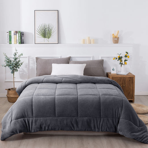 KASENTEX Plush Sherpa Comforter, Cozy Reversible - Goose Down Alternative Fill Bedding