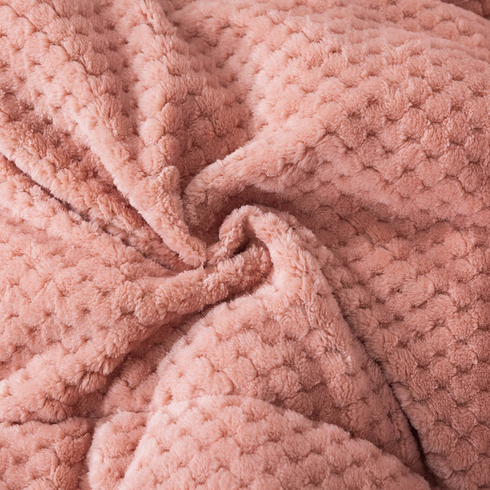 KASENTEX Plush Sherpa Comforter, Cozy Reversible - Goose Down Alternative Fill Bedding -Rose
