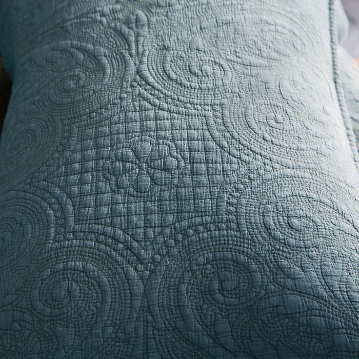 Kasentex Stone-Washed 100% Floral Embroidery Decorative Accent Throw Pillow