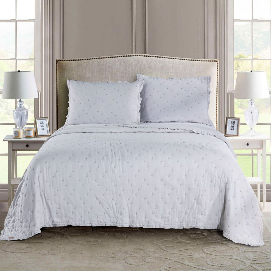 Kasentex Ultra Soft Stone-Washed Bedding Set, 100% Cotton. Contemporary Dot Stitched Lace Embroidery Quilt + 2 Shams