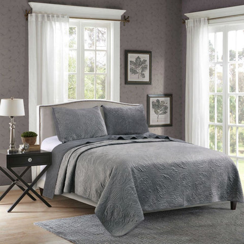 Kasentex Embroidery Luxurious Stone Washed Quilt Set With Pillow Shams - Kasentex