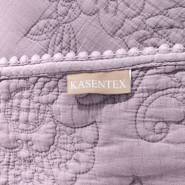 Kasentex Ultra Soft Stone-Washed Set, 100% Cotton. Contemporary Stitched Floral Design Lace Embroidery Quilt + 2 Shams - Kasentex