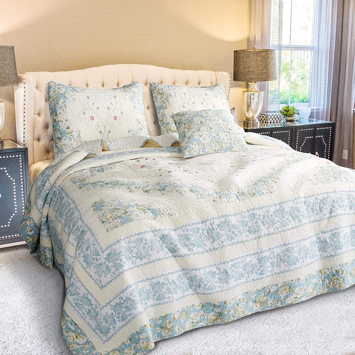 KASENTEX Luxurious Patchwork Bedspread Embroidery 100% Cotton Pillow Sham Set - Blue/Beige