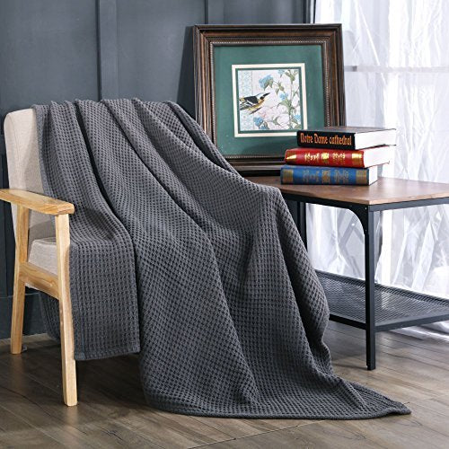Kasentex Stone-Washed 100% Cotton Soft & Warm Knitted Throw Blanket