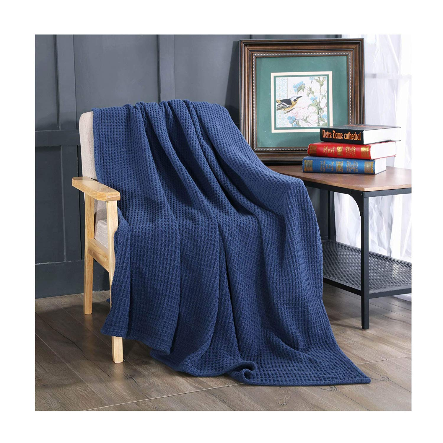 Kasentex Stone-Washed Ultra Soft Throw Blanket 100% Cotton and Solid Color