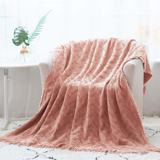 Kasentex All Season Cozy 100% Cotton Knitted Throw Blanket - Kasentex