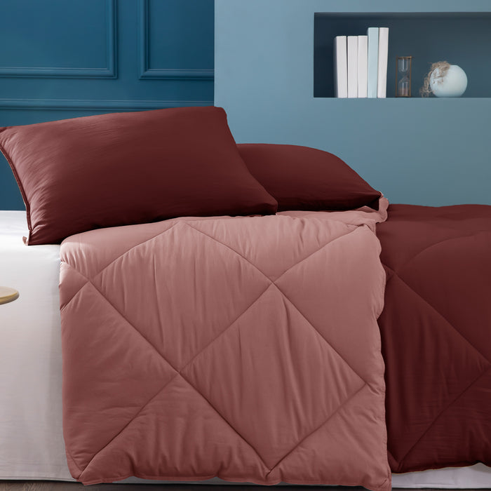 Kasentex Multi Color 2-Tone Reversible Comforter Set with Down Alternative Filling, Hypoallergenic