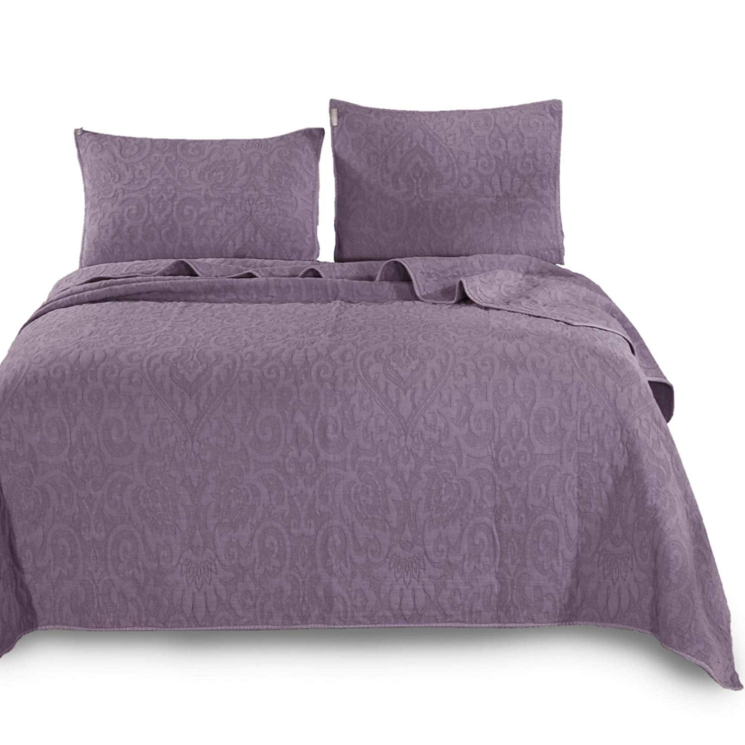 Kasentex Ultra Soft Stone-Washed Bedspread Set, 100% Premium Natural Cotton with Stitched Floral Pattern - Quilt + 2 Shams