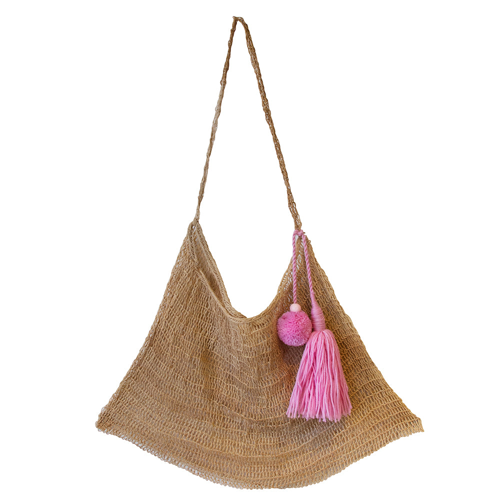 Among Equals Natural Bilum - Bubblegum Pink Tassel
