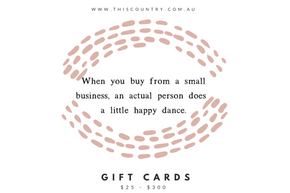 Gift Cards from $25.00 to $300.00