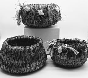 Moa Arts Woven Basket - Paula Savage shells & seeds
