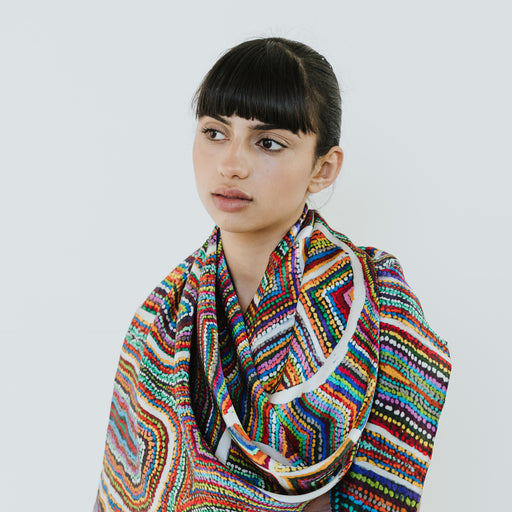 One of Twelve Silk Scarf - Ngayuku Ngura by Samuel Miller