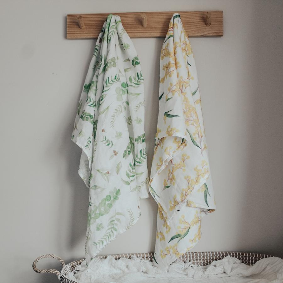 Savannah & Three Swaddle - Native Leaves baby wrap