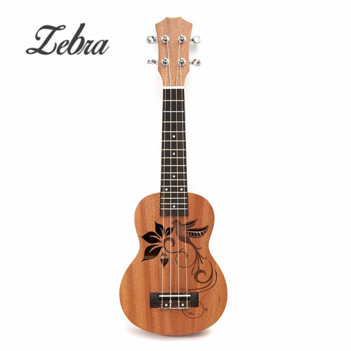 Zebra 21 Inch Soprano Sapele Mini Ukulele Uke 15 Frets 4 Strings Bird Flower Pattern Guitar For Musical Instruments Lover Gift