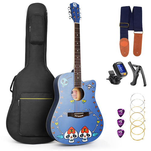 Acoustic Custom Guitar 41 Inch Full Size 6 String Basswood with Guitar Kit From US