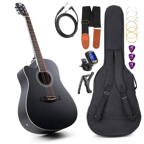 Acoustic Electric Cutaway Guitar Left-handed Guitar 41 Inch Full-Size with Guitar Gig Bag, Strap, Tuner, String, Picks, Capo