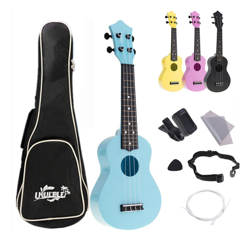 Sale 4 Strings 21 Inch Ukulele Full Kits Acoustic Colorful Hawaii Guitar Guitarra Instrument for Kids and Music Beginner