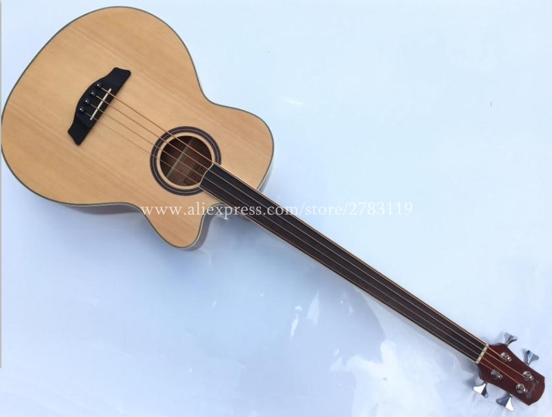 Free shipping Electric Acoustic Wood Bass guitar,Without Tone Position,Spruce top/Mahogany body