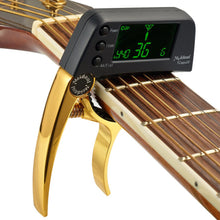 Load image into Gallery viewer, TCapo20 Multifunctional Aluminum Alloy 2-in-1 Guitar Capo Tuner with LCD Screen for Normal Acoustic Folk Electric Guitar Chromatic Bass