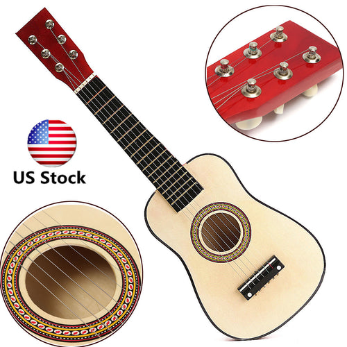 23'' Wooden Beginners Practice w/ 6 String Red Acoustic Guitar Children Kids US