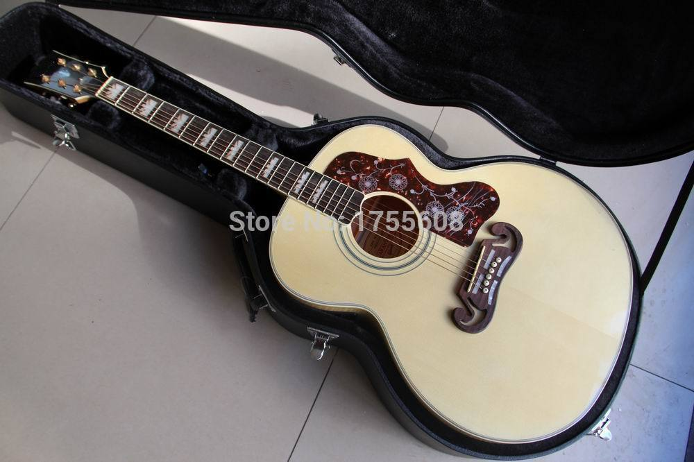 Wholesale 43 inches jumbo guitar sj200 fishman electric acoustic guitar natual color acoustic guitar Free Hardcase 120130