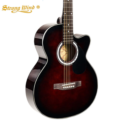 Strong Wind 38 Inch Acoustic Basswood Guitar Starter Kits 20 Frets 6 Steel Strings for Kids Beginner Guitaar Wine And Black