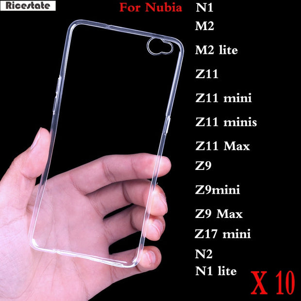 10 Pcs For ZTE Nubia N1 N2 M2 Lite Z11 Z17 Mini Minis Z9 Max Z17s  Ultra-thin Transparent Clear TPU Soft Silicon Cover Back Case