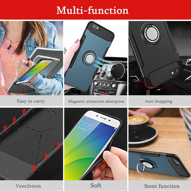 16Countries Drop Ship/ For HUAWEI Honor V10 Car Magnetic Armor 360 Degree Full Ring Stand Hybrid Rugged Phone Shell Cover Case