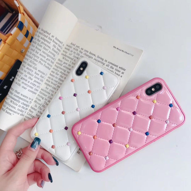 (1PC)The Rivet Leather Skin Checked 3D Case For Iphone Xs Max Xr 8 X 6 7 Plus 6s Back Cover Plaid Cases Funda Covers Girls Gift