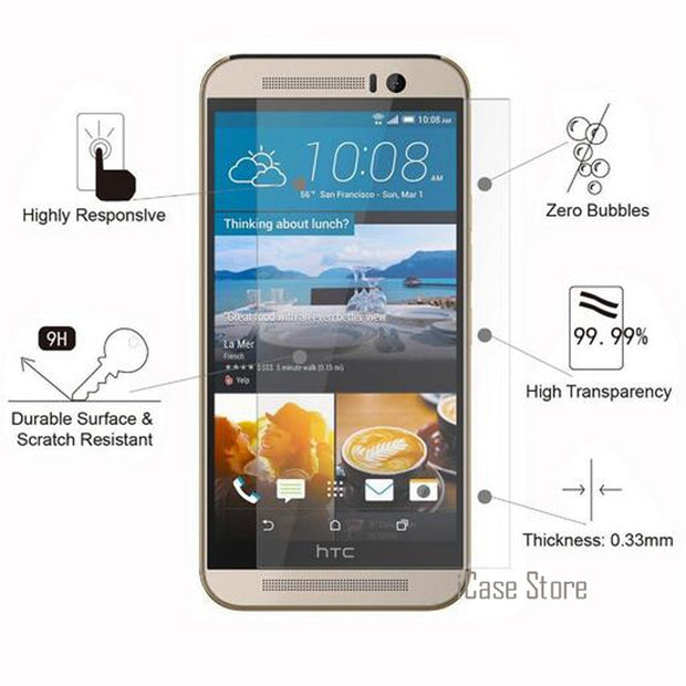 2.5D 9H Screen Protector Tempered Glass For HTC Desire 516 510 526 610 616 816 820 826 E8 E9 EYE M7 M8 Mini M9 Plus One Max Case