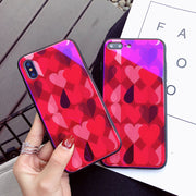 2018 Fashion Cartoon Love Heart Blue Light Mobile Phone Case For IPhone X 8 Plus 6 6S 7 Plus Tempered Glass+Soft TPU Back Cover