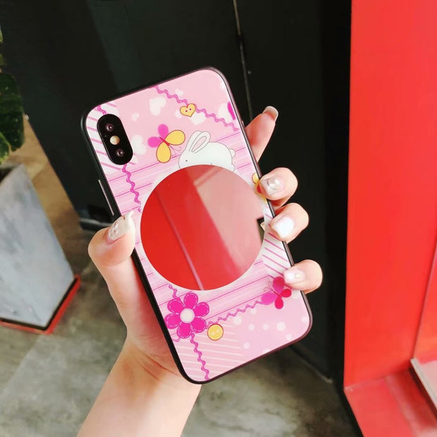 2018 Fashion New Cases With Mirror Cell Phone Shell For IPhone X 8 Plus 6 7 Plus Glass+Soft TPU Back Cover Protective Case