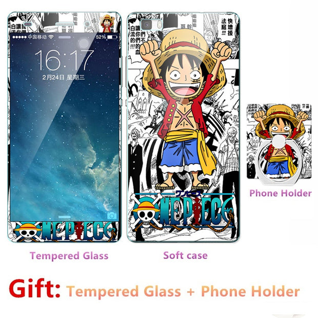 2018 NEW Luxury FOR Huawei P8 Bumper Silicone Case=Tempered Glass Film+ Cute Cartoon Plastic Soft Case Cover+phone Holder